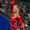 Olympics+Day+5+Artistic+Gymnastics+Shawn Johnson of the United States smiles after competing in the balance beam during the artistic gymnastics team event at the National Indoor Stadium