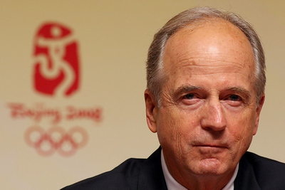 Olympics+Previews+Day+2+Peter Ueberroth head of the United States Olympic Committee attends a press conference ahead of the Beijing 2008 Olympics