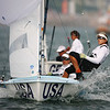 Olympics+Day+5+Sailing+Amanda Clark (L) and Sarah Mergenthaler (R) of the United States of America compete in the Women's 470 class race held at Qingdao Olympic Sailing Center