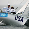 Olympics+Day+5+Sailing+Amanda Clark (L) and Sarah Mergenthaler (R) of the United States of America compete in the Women's 470 class race held at the Qingdao Olympic Sailing Center
