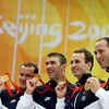 Olympics+Day+9+Swimming+Brendan Hansen, Michael Phelps, Aaron Piersol and Jason Lezak of the United States hold their gold medals in the Men's 4x100 Medley Relay