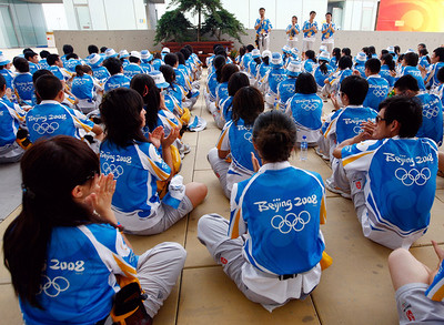Olympics+Previews+Day+2+Olympic volunteers take part in a meeting ahead of the Beijing 2008 Olympics at on August 6, 2008 in Beijing, China