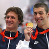Olympics+Day+7+Swimming+Bronze medalist Ryan Lochte of the United States and gold medalist Michael Phelps of the United States pose during the medal ceremony for the Men's 200m Individual Medley Final