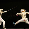 Olympics+Day+1+Fencing+Becca Ward of the United States (L) and Mariel Zagunis also of the United States compete in the fencing sabre semifinals event held at the Fencing Hall of National Convention Center