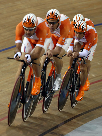 Olympics+Day+9+Cycling+Track+Levi Heimans, Jens Mouris, Robert Slippens and Wim Stroetinga of the Netherlands compete during qualifying for the men's team pursuit track cycling event held at the Laoshan Velodrome