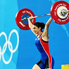 Olympics+Day+1+Weightlifting+Melanie Noel of France competes in the Women's 48kg Group A Weightlifting event held at the Beijing University of Aeronautics and Astronautics Gymnasium