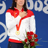 Olympics+Day+7+Swimming+Gold medalist Rebecca Soni of the United States sings the national anthem on the podium during the medal ceremony after the Women's 200m Breaststroke Final