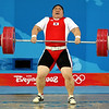 Olympics+Day+8+Weightlifting+Jang Miran of South Korea makes a successful world record clean & jerk lift of 186 kg in the women's +75kg group A weightlifting event at the Beijing University