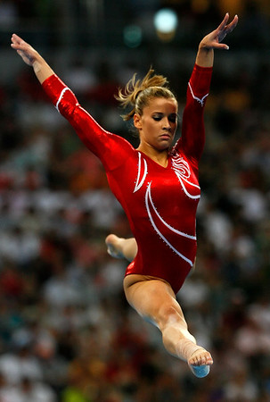 Olympics+Day+5+Artistic+Gymnastics+Alicia Sacramone of the United States competes on the balance beam during the artistic gymnastics team event at the National Indoor Stadium