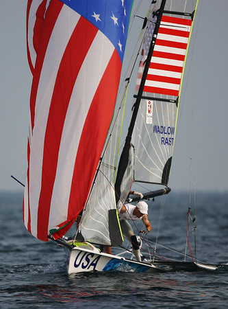 Olympics+Day+5+Sailing+Tim Wadlow (L) and Chris Rast (L) of the United States of America compete in the 49er class race held at the Qingdao Olympic Sailing Center