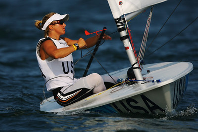 Olympics+Day+4+Sailing+Anna Tunnicliffe of the United States of America competes in the Laser Radial class race held at the Qingdao Olympic Sailing Center during day 4 of the Beijing 2008 Olympic Games
