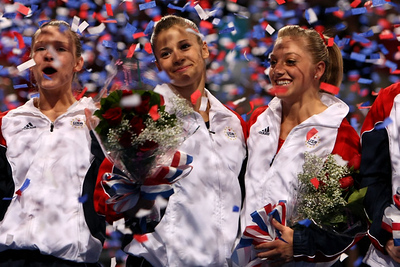 2008+Olympic+Team+Trials+Gymnastics+Bridget Sloan, Alicia Sacramone and Samantha Peszek look on after competing during day four of the 2008 U S  Olympic Team Trials for gymnastics