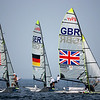 Olympics+Day+5+Sailing+Tim Wadlow and Chris Rast of the United States of America, Jan Peter Peckolt and Hannes Peckolt of Germany and Stevie Morrison and Ben Rhodes of Great Britain compete in the 49er class race