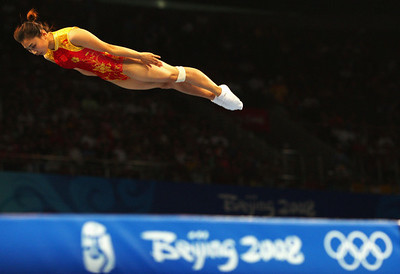 Olympics+Day+8+Gymnastics+Trampoline+He Wenna of China competes in the Women's Trampoline Qualification at the National Indoor Stadium on Day 8 of the Beijing 2008 Olympic Games
