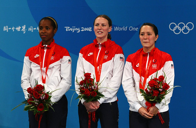 Olympics+Day+8+Fencing+The United States team with Emily Cross, Hanna Thompson and Erinn Smart pose with their silver medal after the Fencing Women's Team Foil at the Fencing Hall on Day 8 of the Beijing 2008 Olympic Games