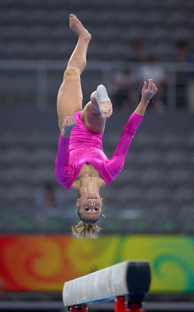 Olympics+Previews+Day+1+Alicia Sacramone of the United States practices on the balance beam ahead of the Beijing 2008 Olympics at the National Indoor Stadium on August 7, 2008 in Beijing
