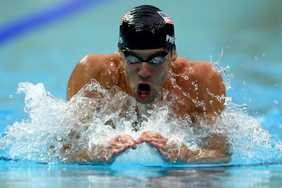 Olympics+Day+6+Swimming+Michael Phelps of the United States competes in the Men's 200m Individual Medley Semifinal 1 held at the National Aquatics Centre