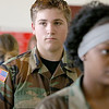 Memorial Middle School seventh grader Keith Worden, 13, listens to instructions as he and members of the Civil Air Patrol club at the school go through some marching drills on May 2, 2017. SENTINEL & ENTERPRISE/JOHN LOVE