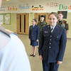 Memorial Middle School eighth grader Carine Poladian, 13, listens to Captain Patrick Bucklin during a drill with the Civil Air Patrol club at the school. Behind her is the rest of the members of the club. SENTINEL & ENTERPRISE/JOHN LOVE