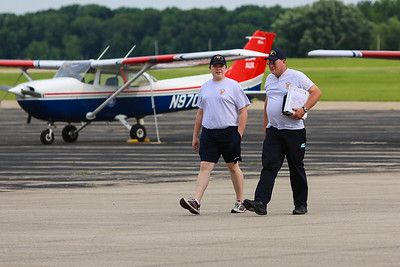 Cadet MSgt Edward Chmiel (Illinois wing) and Lt Col Dave McEntire (Indiana Wing) coming back from an afternoon flight