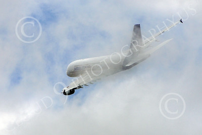 A380 00168 An Airbus A380 prototype super jumble jet airliner flies through clouds airliner picture by Stephen W D Wolf