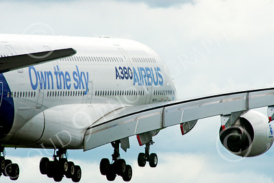A380 00146 A landing Airbus A380 Own the sky prototype super jumble jet airliner airliner picture by Stephen W D Wolf