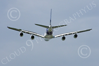 A380 00256 Rear view of a flying Airbus A380 prototype super jumble jet airliner picture by Stephen W D Wolf