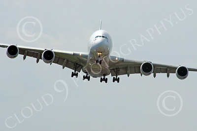 A380 00122 A head-on view of a landing Airbus A380 prototype super jumble jet airliner 2013 airliner picture by Stephen W D Wolf