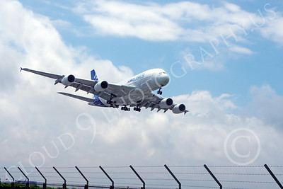 A380 00136 An Airbus A380 prototype super jumble jet airliner lands at the 2013 Paris Air Show airliner picture by Stephen W D Wolf
