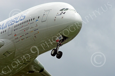 A380 00254 Close up of the nose of a landing Airbus A380 prototype super jumble jet airliner airliner picture by Stephen W D Wolf