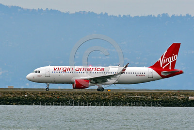 A320 00031 An Airbus A320 VIRGIN AMERICA N285VA jet airliner on the runway for take-off at SFO 6-2016 jet airliner picture by Peter J  Mancus