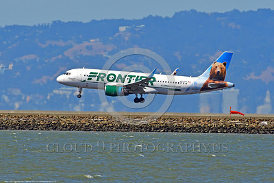 A320 00022 An Airbus A320 FRONTIER N227FR jet airliner lands at SFO 6-2016 jet airliner picture by Peter J  Mancus