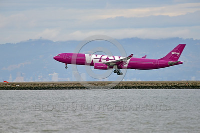 A330 00054 An Airbus A330 WOW AIR TF-GAY an Icelandic jet airliner lands at SFO 6-2016 jet airliner picture by Peter J  Mancus