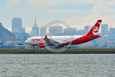 A330 00079 An Airbus A330 AIR BERLIN jet airliner take-off roll SFO 6-2016 jet airliner picture by Peter J  Mancus
