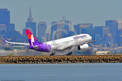 A330 00005 An Airbus A330 HAWAIIAN jet airliner takes off at SFO 6-2016 jet airliner picture by Peter J  Mancus
