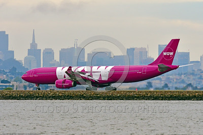 A330 00039 An Airbus A330 WOW AIR TF-GAY jet airliner rolls out after landing at SFO 6-2016 jet airliner picture by Peter J  Mancus