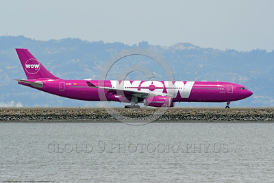 A330 00007 An Airbus A330 WOW AIR EC-MIN jet airliner taxis for take-off at SFO 6-2016 jet airliner picture by Peter J  Mancus