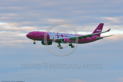 A330 00038 A landing Airbus A330 WOW AIR 6-2016 jet airliner picture by Peter J  Mancus