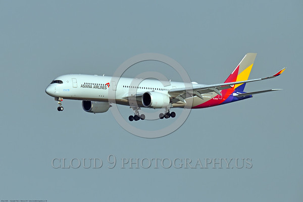 A350 0006 An Airbus A350-900 Asiana Airline HL 7578 landing at SFO, 12-2017, jet airliner picture by Peter J  Mancus     DONEwt