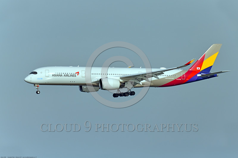 A350 0007 An Airbus A350-900 Asiana Airline HL 7578 landing at SFO, 12-2017, jet airliner picture by Peter J  Mancus     DONEwt