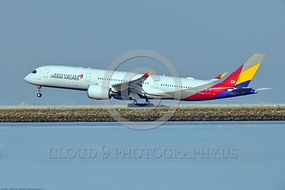 A350 0009 An Airbus A350-900 Asiana Airline HL 7578 landing at SFO, 12-2017, jet airliner picture by Peter J  Mancus     DONEwt