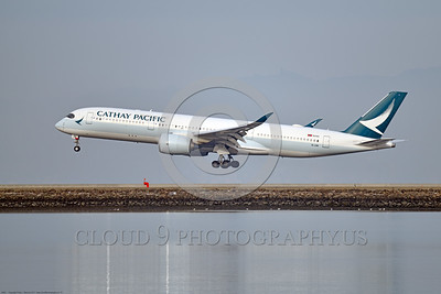 A350 0005 An Airbus A350-900 Cathay Pacific B-LRN lands at SFO, 12-2017, jet airliner picture by Peter J  Mancus     DONEwt