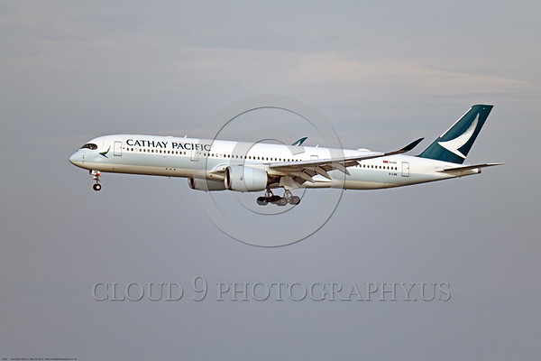 A350 0004 An Airbus A350-900 Cathay Pacific Airlines B-LRN landing at SFO 12-2017, jet airliner picture by Peter J  Mancus     DONEwt