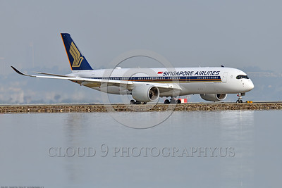 A350 0013 An Airbus A350-900 Singapore Airlines 9V-SMO taxis for take-off at SFO, 12-2017, jet airliner picture by Peter J  Mancus     DONEwt