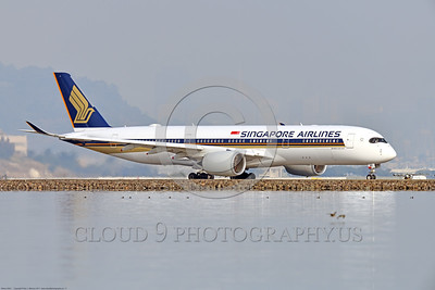 A350 0011 An Airbus A350-900 Singapore Airlines taxis for take-off at SFO, 12-2017, jet airliner picture by Peter J  Mancus     DONEwt