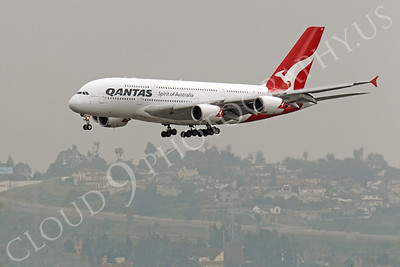 A380 00060 A Qantas A380 jumbo jet airliner on its landing approach at LAX airliner picture, by Peter J Mancus