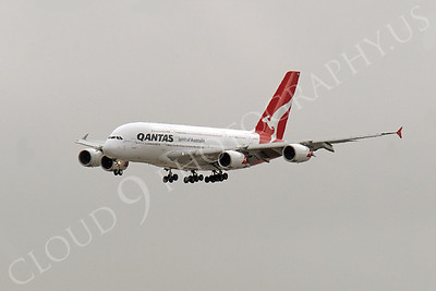 A380 00042 A Qantas A380 jumbo jet airliner on its landing approach airliner picture, by Peter J Mancus