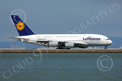 A380 00019 A Lufthansa Airbus A380 taxis out for take-off at SFO, airliner picture, by Peter J Mancus
