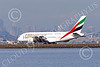 A380 00269 An Airbus A380 Emirates Airline A6-EEU rolls out after landing at SFO with a San Francisco sky line background 12-2014 airliner picture by Peter J Mancus