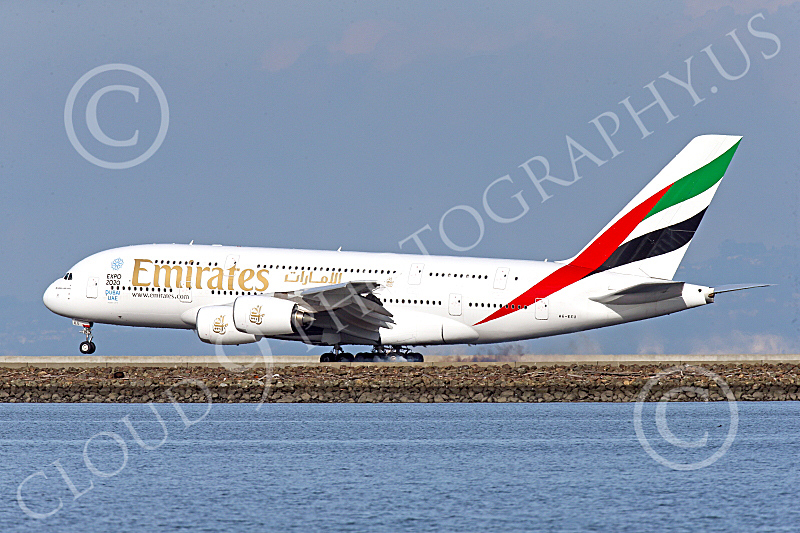 A380 00286 An Airbus A380 Emirates Airline A6-EEU lands at SFO 12-2014 12-2014 airliner picture by Peter J Mancus